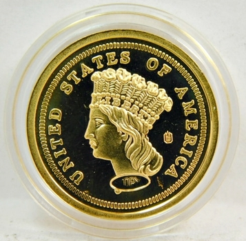 1870 24K Gold Layered $3 Gold Gem PROOF Coin Replica-Comes In Sleeve With Info Card-These Are Very High Quality!