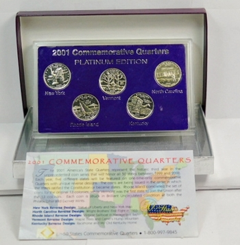 2001 Commemorative Platinum Edition State Quarter Collection-Perfect Uncirculated-Expertly Packaged In Custom Hard Plastic With Superior Gift Box! Nice!
