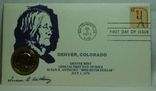 1979-D Brilliant Uncirculated Susan B Anthony Dollar - Official First Day of Issue - July 2, 1979 - San Francisco MIntmark