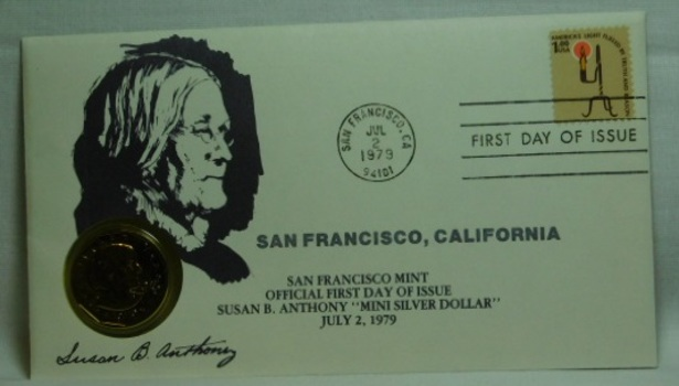 1979-S Brilliant Uncirculated Susan B Anthony Dollar - Official First Day of Issue - July 2, 1979