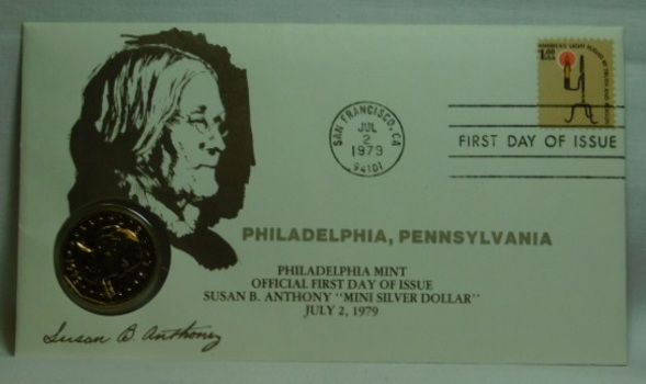 1979-P Brilliant Uncirculated Susan B Anthony Dollar - Officail Firt Day of Issue - Philadelphia Mint - July 2, 1979