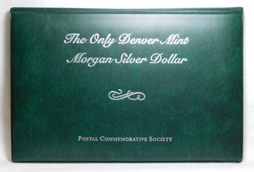 "Brilliant Uncirculated 1921-D Morgan SILVER Dollar - The Only Denver Minted Morgan - In Nice Album Styled Display with 2 Stamps and information Pertaining to Colorado and the Mint - 6 1/2"" x 9 1/2"""