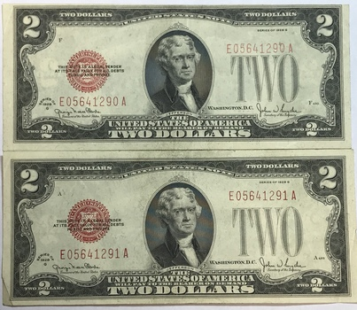CONSECUTIVE NUMBERED 1928G $2 Red Seal Federal Reserve Notes - Nice Higher Grade