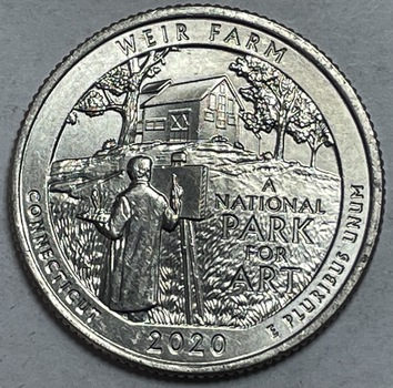 Scarce 2020-W Weir Farm Commemorative Quarter with V75 Privy - West Point Minted