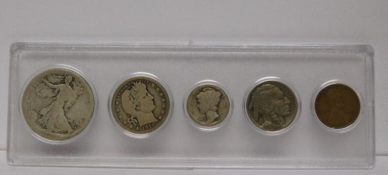 1916 United States Silver Mint Set in Whitman Holder w/ Key Date 1916-S Walking Liberty Half Dollar