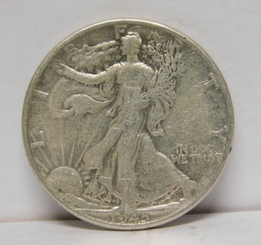 1945 Silver Walking Liberty Half Dollar - Lines Still Show in Skirt - Clear Date