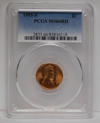 1955-S Lincoln Wheat Cent - Graded MS66 RED by PCGS
