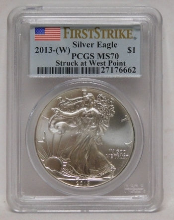 2013-W American Silver Eagle - First Strike Coin - West Point Minted - Graded MS70 by PCGS
