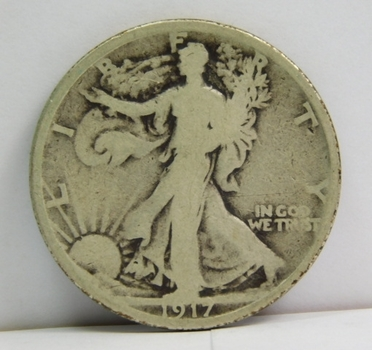 1917-S Silver Walking Liberty Half Dollar - San Francisco Minted Well - Outlined with Clear Date and Mint Mark