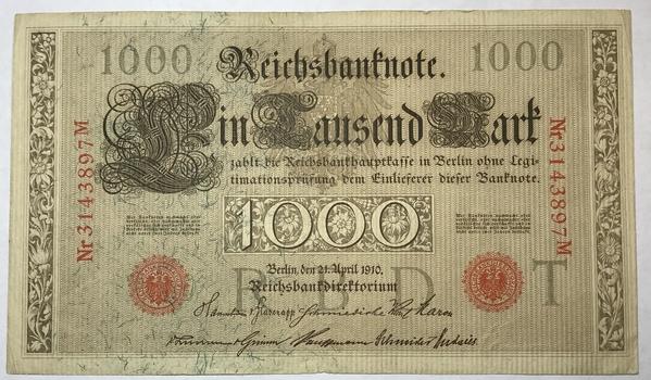 1910 Germany 1000 Mark Reichsbanknote