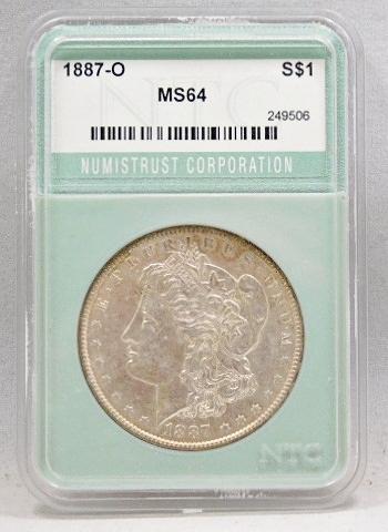 RARE HIGH GRADE 1887-O New Orleans Minted Morgan Silver Dollar - NTC Graded MS64