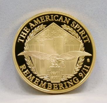 24K Gold Layered Remembering 9/11 Medallion - The American Spirit - Justice