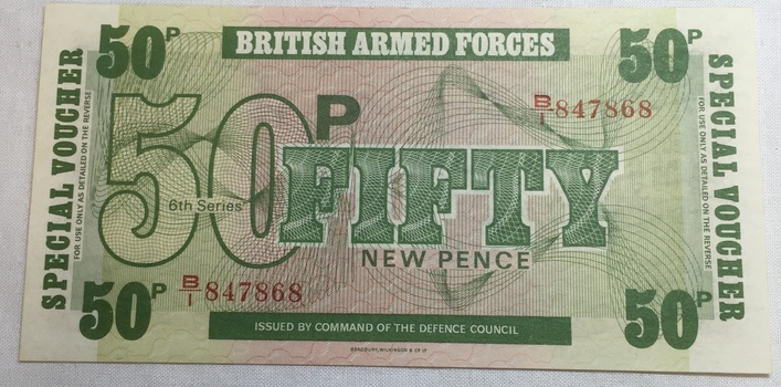 British Armed Forces Fifty Pence 6th Series - Issued by Command of the Defence Council - High Grade Crisp Note