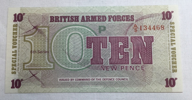 British Armed Forces Ten Pence 6th Series - Issued by Command of the Defence Council - High Grade Crisp Note
