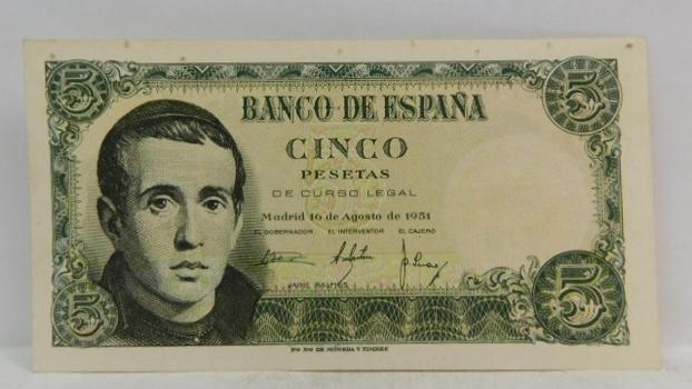 "1951 Bank of Spain ""5 Peseta"" Uncirculated Note"