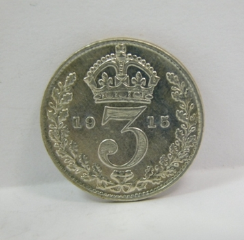 """1915 Great Britain Silver """"3 Pence"""" King George V"""