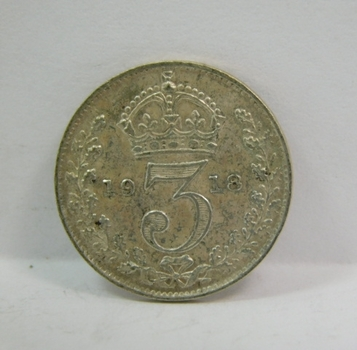 """1918 Great Britain Silver """"3 Pence"""" King George V"""
