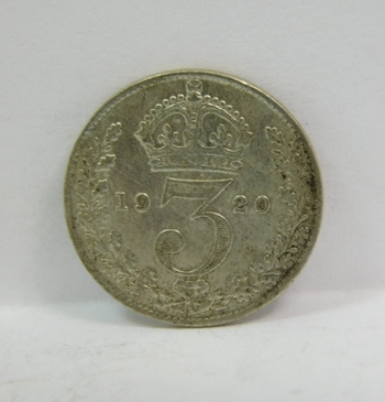 """1920 Great Britain Silver """"3 Pence"""" King George V"""