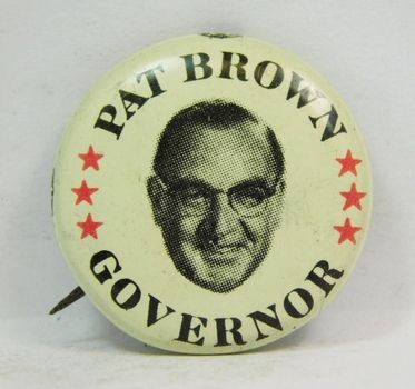 Scarce! Pat Brown For Governor Political Button-Above Average Condition
