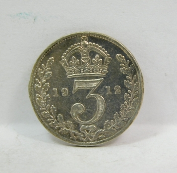 """1912 Great Britain Silver """"3 Pence"""" King George V"""
