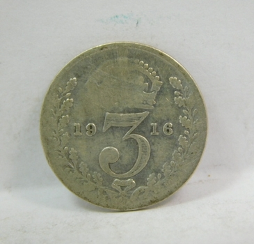 """1916 Great Britain Silver """"3 Pence"""" King George V"""