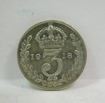 "1918 Great Britain Silver ""3 Pence"" King George V"