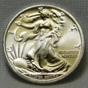 1/10 oz .999 Fine Silver Mini Silver Walking Liberty Round