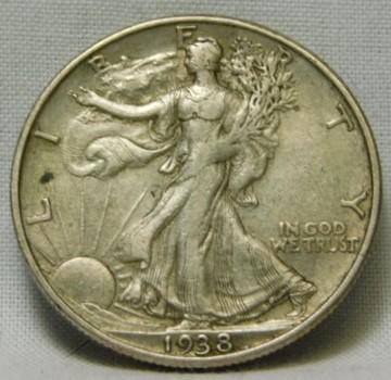1938-D Silver Walking Liberty Half Dollar - Higher Grade Coin - Nice Detail