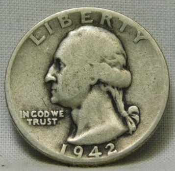 1942-D Silver Washington Quarter - Well Outlined with Some Detail in Eagle's Wings - Clear Date and Mint Mark