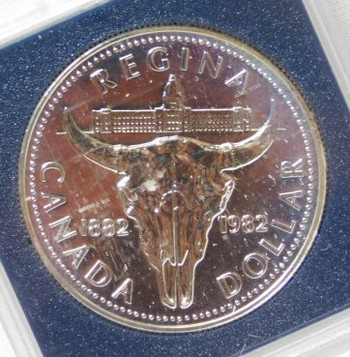 1982 Canada Cattle Skull Silver Dollar - High Grade Uncirculated Proof-Like in Original Mint Packaging