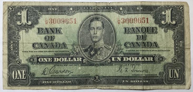 1937 Canada $1 - King George - Gordon/Towers Signatures
