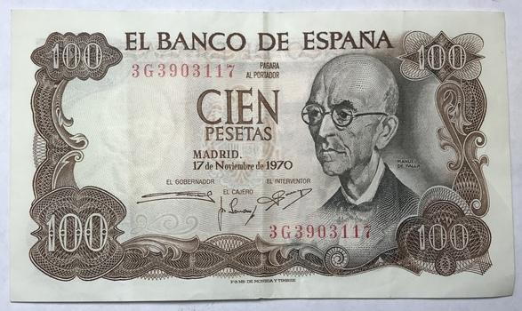 1970 Spain 100 Pesetas - High Grade Bank Note