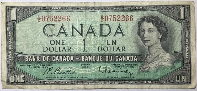 1954 Canada $1 Modified Hair Style Variety - Beattie/Rasminsky Signatures