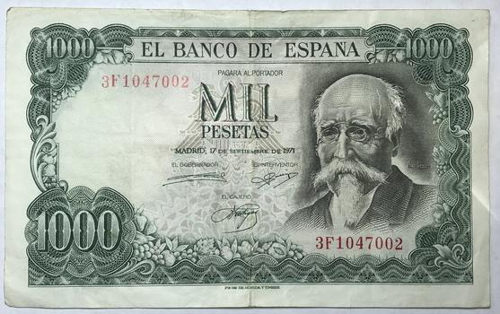 1971 Spain 1000 Pesetas Bank Note