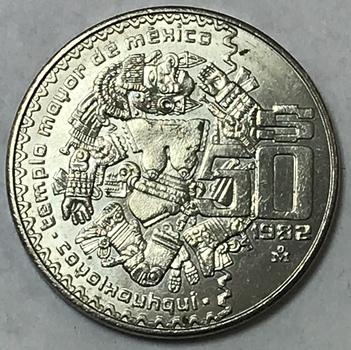 1982 Mexico $50 Pesos - Aztec Mythology Moon Goddess Commemorative