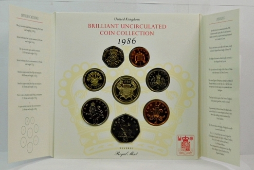 1986 United Kingdom Brilliant Uncirculated Coin Collection - In Historical Story Board Display from the Royal Mint