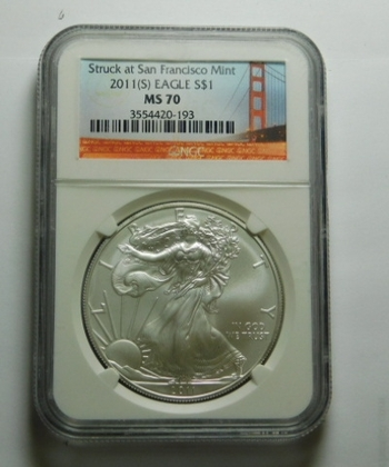 HIGH GRADE!! - 2011-S American Silver Eagle - Struck at the San Francisco Mint - Graded MS70 by NGC