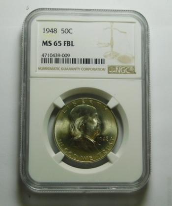 HIGH GRADE!! - Silver 1948 Franklin Half Dollar - Graded MS65 FBL (Full Bell Lines) by NGC