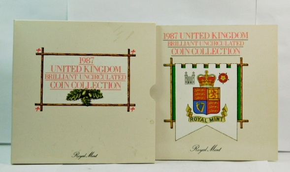 1987 United Kingdom Brilliant Uncirculated Coin Collection - 7 Coin Set in Nice Display