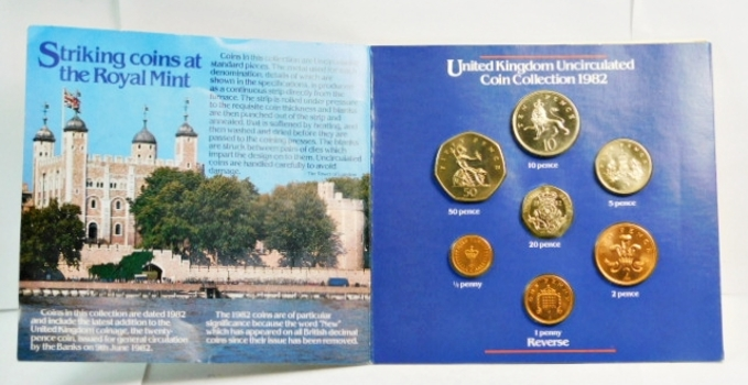 1982 United Kingdom Uncirculated Coin Collection - In Story Board Folder