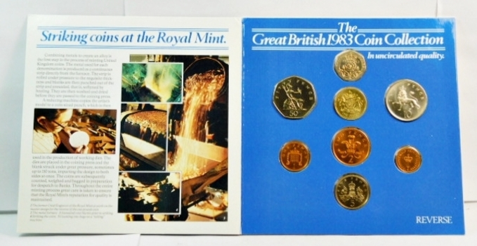 1983 United Kingdom Uncirculated Coin Collection - Including the First Issued 1 Pound Coin - In Original Royal Mint Packaging