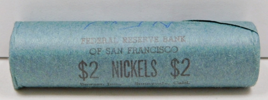 Unopened Bank Roll of 1960-D Jefferson Nickels - Stamped Federal Reserve Bank of San Francisco - $2 Face Value Roll