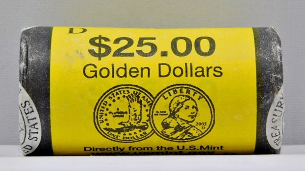Unopened; Unsearched  U.S. Mint Roll of D Sacagawea Dollars - $25 Roll from the Denver Mint - Mystery Roll!!  Date Unknown!!