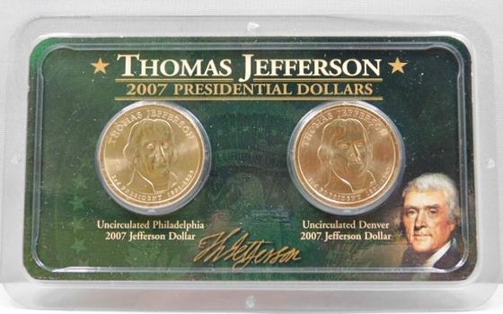 Thomas Jefferson Presidential Dollars-Gem Brilliant Uncirculated-2007-D (Denver) & 2007-P (Philadelphia) First Year Of Issue Of Presidential Dollars