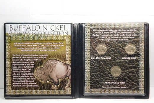 Buffalo Nickel Mint Mark Collection - Philadelphia, Denver and San Francisco Mint Marks in Plastic Wallet with Historical Story Boards