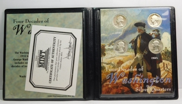 Four Decades of Washington Silver Quarters - Four Quarter Set in Plastic Wallet