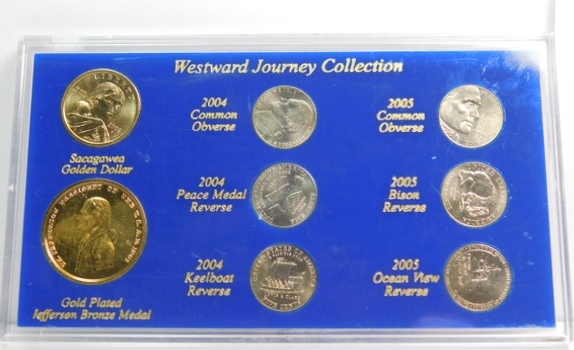 Westward Journey Collection - Sacagawea Golden Dollar, Six Jefferson Nickels and Gold Plated Jefferson Bronze Medal
