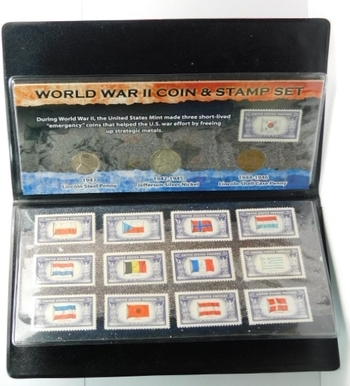 World War II Coin & Stamp Set - Steel Cent, Silver Nickel, Shell Case Penny and 12 5c Stamps in Plastic Protective Wallet
