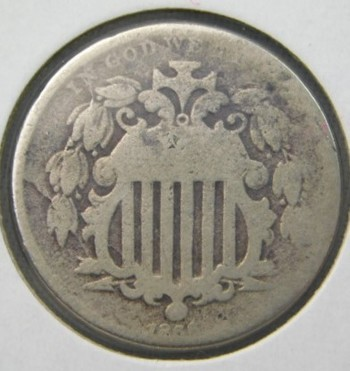 Genuine 1866 Shield Nickel With RAYS - Over 150 Years Old!