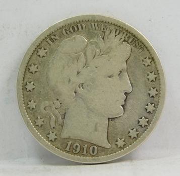 1910-S Silver Barber Half Dollar